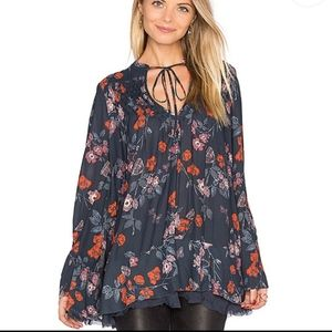 Pebble Crepe So Fine Smocked Tunic floral top